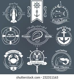 Set of logos, emblem seafood. Squid, Tuna, Oysters, Crab, Lobster, Shrimp and design elements.
