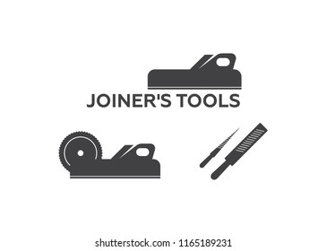 A set of logos, emblems of joiner's tools vector. Joiner tools vector
