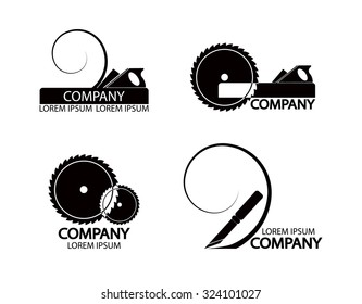 A set of logos, emblems of joiner's tools. Good to use for the logo or symbol of your company. Vector illustration in flat style. You can edit