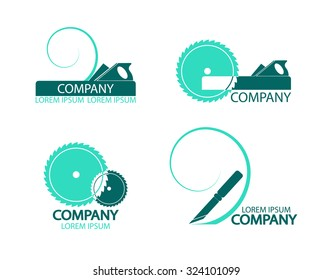 A set of logos, emblems of joiner's tools. Good to use for the logo or symbol of your company. Vector illustration in flat style. Easy to edit or change color