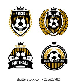 set of logos, emblems on the theme of soccer, football. design concept of football icons. football logo. soccer logo. team logo. league logo. icon logo. ball logo