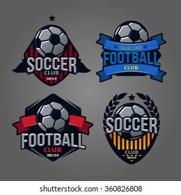 set of logos, emblems on the theme of soccer, football icons, Printing on T-shirts. football logo. soccer logo. team logo. league logo. icon logo. ball logo