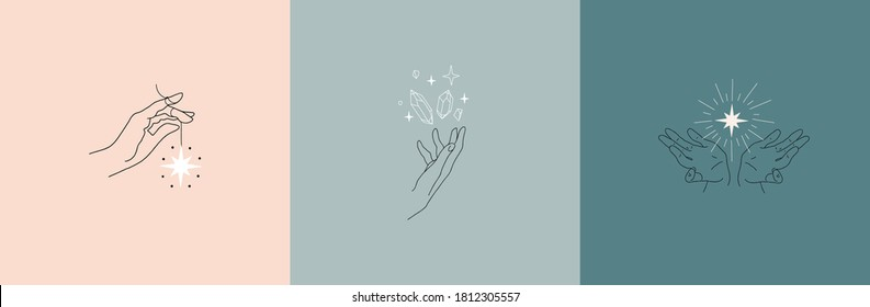 Set of logos of female hands, linear drawing. Vector design templates with different hand gestures, stars and crystals. For cosmetics, beauty, tattoo, astrology, manicure, jewelry store