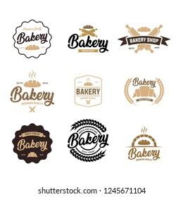 Set logos fresh bread, bakery. Bakery logo, emblem and label. Set logo.