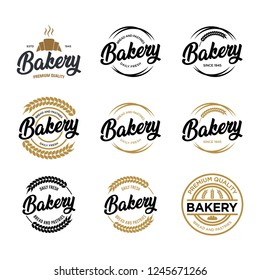 Set logos fresh bread, bakery. Bakery logo, emblem and label. Set logo.