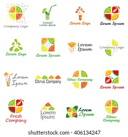 Set of logos for fruit organic company, fresh juice or cocktail bar. Colorful slices of pineapple, lemon, lime, grapefruit and strawberry.