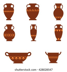 Set of logos with greek antiquity urns. Vector ancient greek vases set in traditional colors