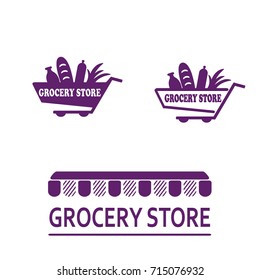 Set of logos for a grocery store on a white background. A trolley with products-a loaf, milk, greens, sausage. Vector illustration
