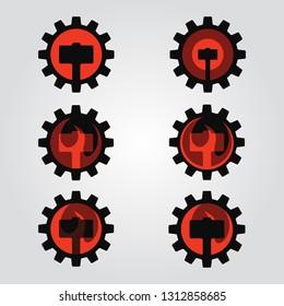 Set of logos with hammer in fire inside gear wheel