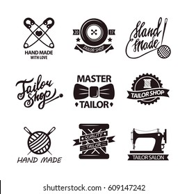 Set of logos for handmade shops. Tailor salon advertisement logotypes. Sewing stitching needlework vintage emblems. Safety pins, spool of threads in stickers design. Vector elements for knitting