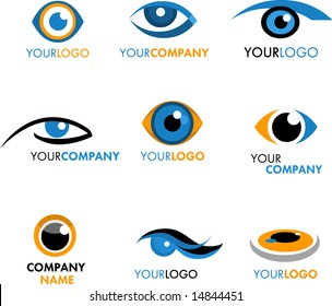 SET OF LOGOS AND ICONS OF EYE