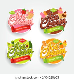 Set of Logos, labels and badges of ice cream with different taste delicious. Vector illustration for your design, packaging and advertising