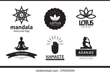 Set of logos, labels and badges for yoga studio in vector. Yoga vector logotype template.