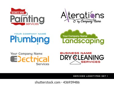 Set of logos logotypes for various services. plumbing, electrical, alterations, landscaping, painting and dry cleaning.