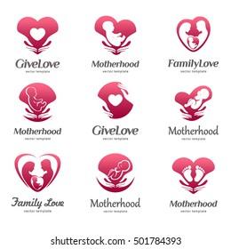 Set of logos of motherhood, baby care, family love, pregnancy, childbearing