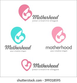 Set of logos of motherhood and childbearing