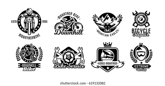 Set of logos, mountain bike. Bicycle, racer, eagle, repair, service, downhill, freeride. Vector illustration
