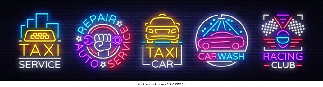 Set logos in neon style Transportation. Design Template, Neon Signs Collection, Auto Service, Garage, Racing Club, Car Wash, Taxi Service, Repair Car. Night light advertising. Vector illustration