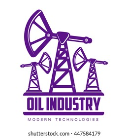 set of logos with oil, vectors flat illustration isolated on white background. oil company.