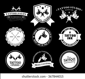 Set of logos on black background for tattoo parlors, shops, studios and artists. Vector illustrations.