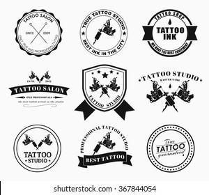 Set of logos on white background for tattoo parlors, shops, studios and artists. Vector illustrations.
