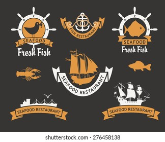 set of logos for restaurants and seafood stores with the image of fish and ships