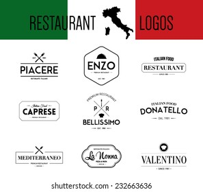 Set of logos retro vintage italian restaurant, bar, mediterranean food labels, badges logo template. Hipster style design, logotype, brand, branding, company, corporate, identity, business.