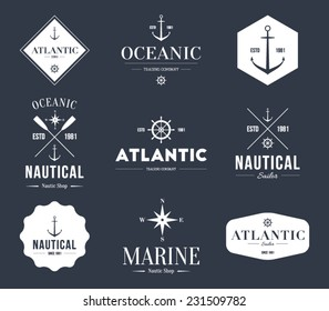 Set of logos retro vintage nautical labels and badges logo templates. Hipster style design, brand, branding, logotype, company, corporate, identity, sail, sailing