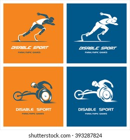Set of logos, signs. Athletes with a disability. Paralympic games.