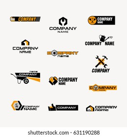 A set of logos for a store of household goods or a company for the production or trade of tools, garden tools, fasteners, household goods, building materials, and repair products.