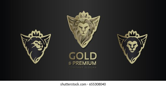 Set of logos. Stylized head of a lion with wings. Vector.