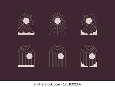 Set of logos with sun and moon. Portal, arch. Clear sky, water, clouds.