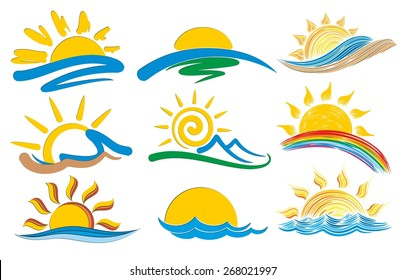 Set of logos with the sun and the sea.