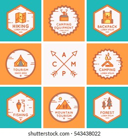 Set of logos and symbols for camping and hiking. Vector illustration.