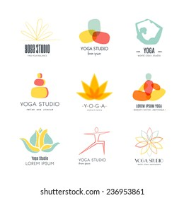 Set of logos for yoga studio or meditation class. Modern fitness badges collection made in vector. Yoga vector logotype template. Healthcare, sport, fitness, spa logo design elements.