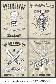 Set of logotype for barbershop in vintage style. Barber shop logo flat vector design emblem with barber objects sign and lettering. Hairdressing salon signboard. Style haircut banner poster
