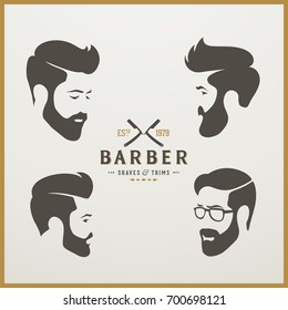 Set of  logotype of man's head.  Logo design for hair and barber salon.