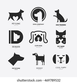 Set of logotypes with dogs. Dog logo collection. Logotype for vet clinic, pet shop, dog training or dog shelter. Set of dog related logo designs. Editable design element for your company.