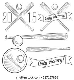 Set of logotypes and elements with baseball bat