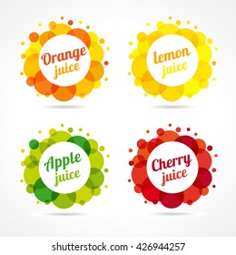 Set of logotypes. Food and beverage business. Isolated emblems, buttons or banners. Round bright coloured framed graphic template. Citrus, berry healthy natural product. Green, yellow, red collection.