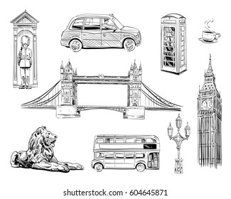 Set of London hand drawn landmarks. Objects symbolizing England. Vector illustration collection: Big Ben, Tower Bridge, Double-decker buses, taxi cab,Trafalgar Square Lions.