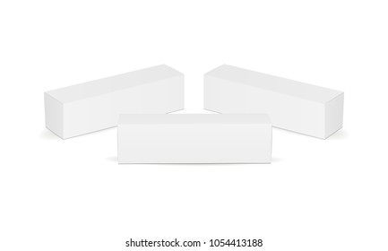Set of long cardboard boxes isolated on white background. Packaging mockup for design or branding. Vector illustration