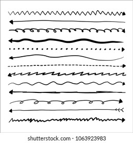 Set of long doodle vector arrows