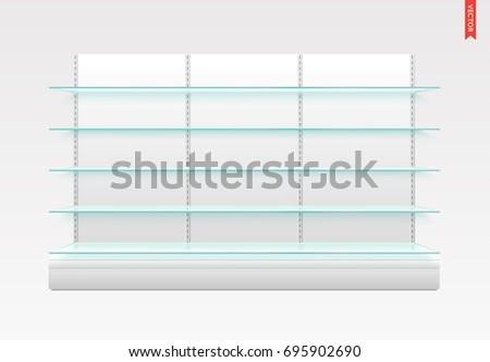 set long glass shelves vector isolated stock vector royalty free rh shutterstock com long glass shelf brackets brushed chrome long glass floating shelves