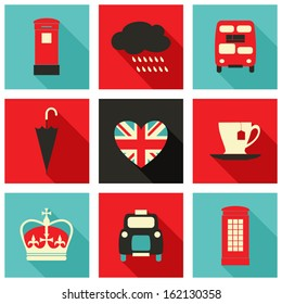 A set of long shadow icons with London symbols.
