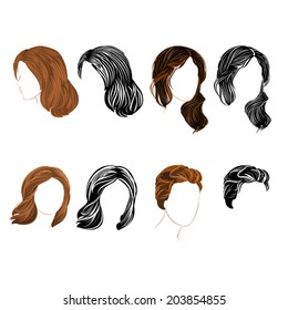 Set long and short hair  natural and silhouette Vector Illustration