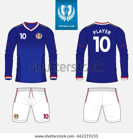 Set of long sleeve soccer jersey or football kit template for football club.  Football shirt mock up. Front and back view soccer uniform. b6657bd55