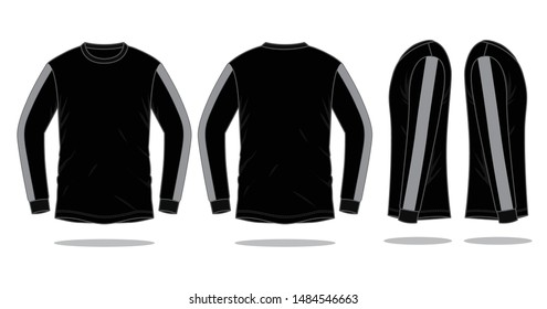 Set Long Sleeve T-shirt Design Vector (Black / Gray) : Front, Back and Side View