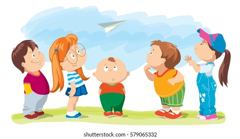 Set of looking up little boys and girls. Cartoon vector illustration