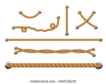 Set of looped ropes with metal holes. Rope threads.